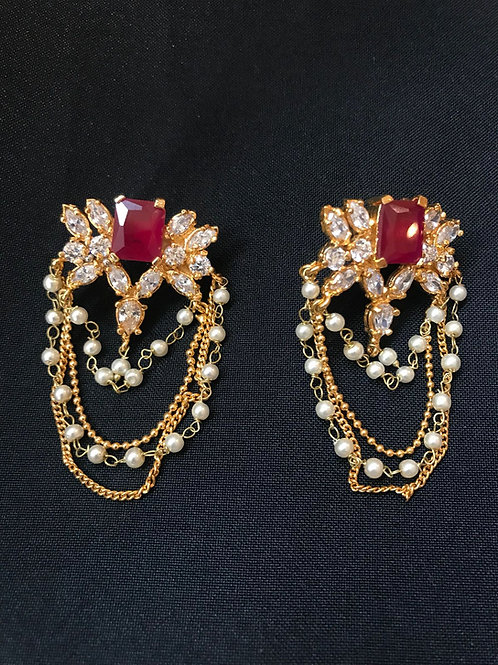 Ruby & Pearl Multi Strand Earrings