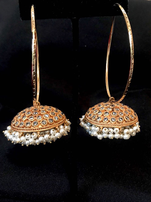 Large Pearl Jhumka Bali Earrings