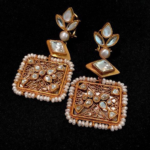 Kundan Polki Square Drop Earrings