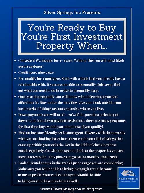 You're Ready to Buy You're First Investment Property When...