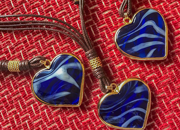 Blue heart Murano Necklace