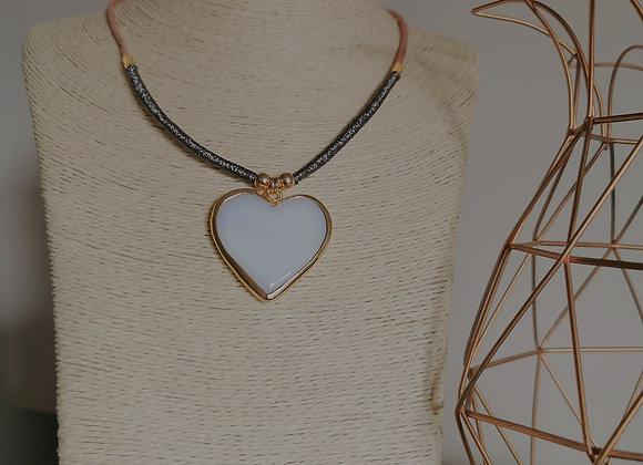 White Heart Necklace metallic