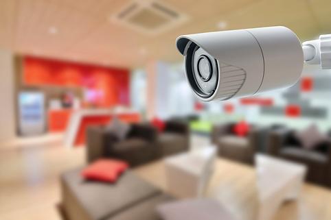 Video Surveillance Camera overlooking living room residential home security alarm company charlottesville richmond harrisonburg