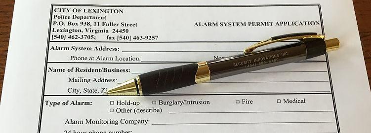 Security Alarm System Permit Application