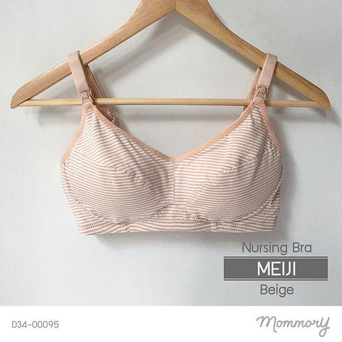 Meiji (beige) เสื้อชั้นในให้นมบุตร ไม่มีโครง ผ้าคอตตอน
