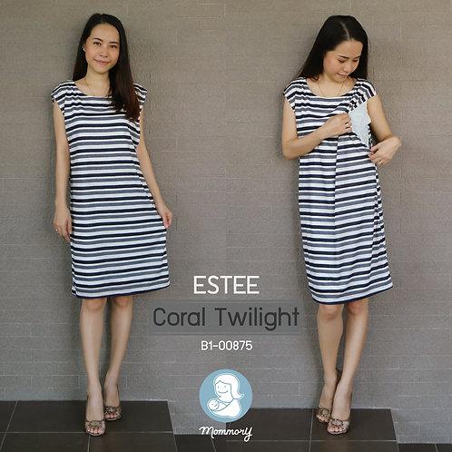 Estee (Coral Twilight) - ชุดให้นมบุตร แบบแหวก