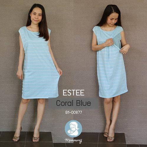 Estee (Coral Blue) - ชุดให้นมบุตร แบบแหวก