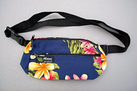 Tropical Fanny Pack Cute Plumeria Navy