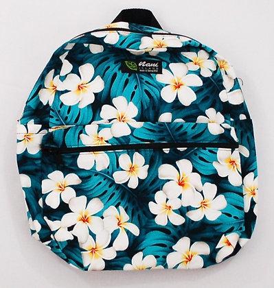 Tropical Backpack (Small) Modern Plumeria Teal