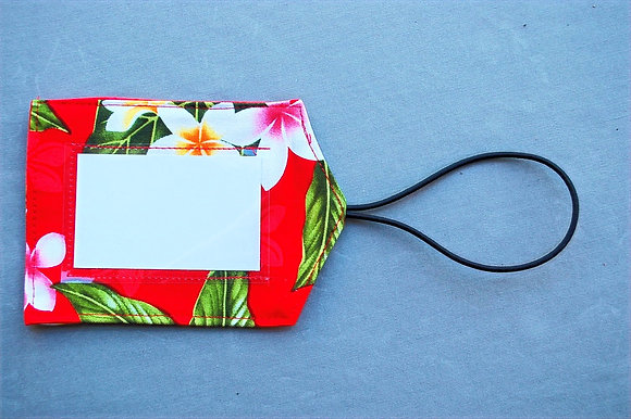 Tropical Luggage Tag New Plumeria Red