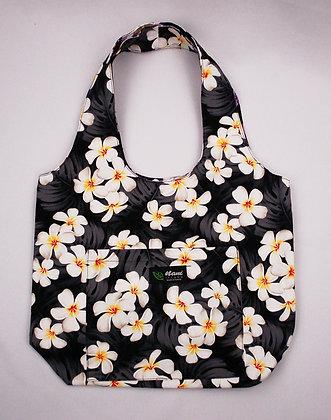 Tropical Reversible Hobo Bag Modern Plumeria Black