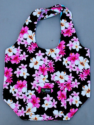 Tropical Reversible Shopping Tote Bag Dream of Flowers Black