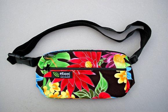 Tropical Fanny Pack Hawaiian Garden Black