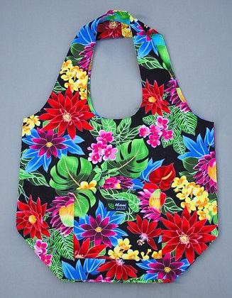 Tropical Reversible Shopping Tote Bag Hawaiian Garden Black