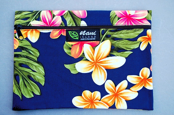 Tropical Cosmetic Pouch Cute Plumeria Navy
