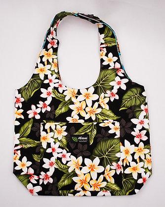 Tropical Reversible Hobo Bag New Plumeria Black