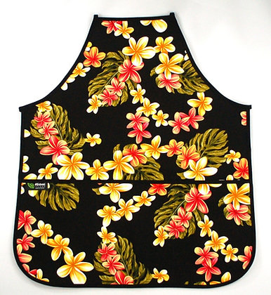 Tropical Apron (Adult) Cute Plumeria Black