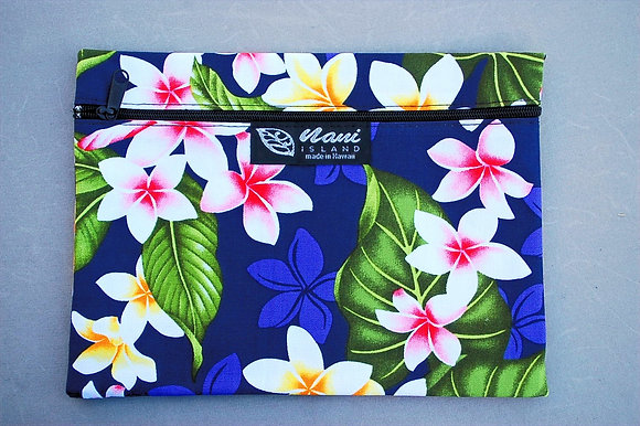 Tropical Cosmetic Pouch New Plumeria Navy