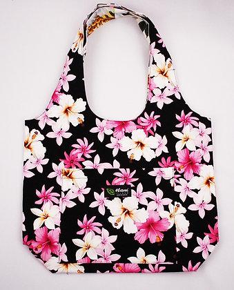 Tropical Reversible Hobo Bag Dream of Flowers Black
