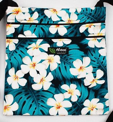 Tropical Passport Bag (XXL) Modern Plumeria Teal