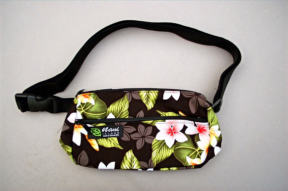 Tropical Fanny Pack New Plumeria Black