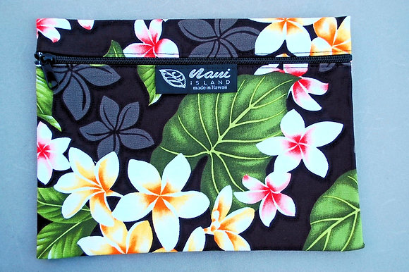 Tropical Cosmetic Pouch New Plumeria Black