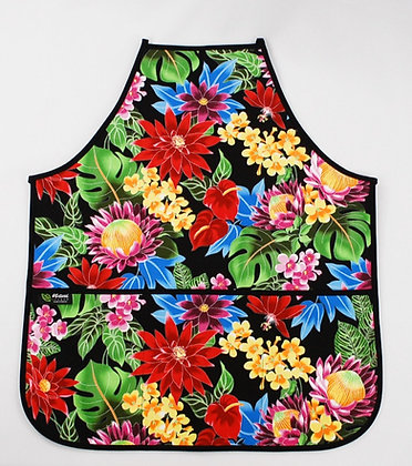 Tropical Apron (Adult) Hawaiian Garden Black