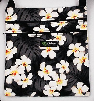 Tropical Passport Bag (XXL) Modern Plumeria Black
