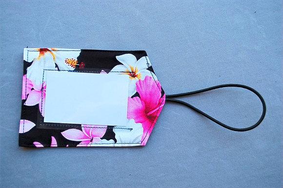 Tropical Luggage Tag Dream of Flowers Black