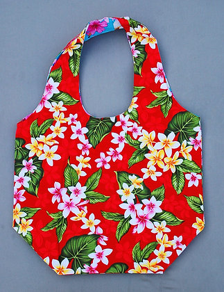 Tropical Reversible Shopping Tote Bag New Plumeria Red