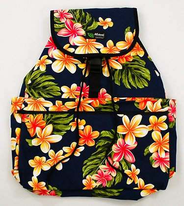 Tropical Backpack (Large) Cute Plumeria Navy