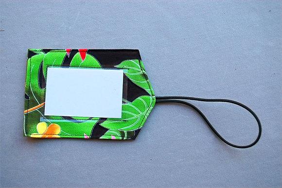 Tropical Luggage Tag Hawaiian Garden Black