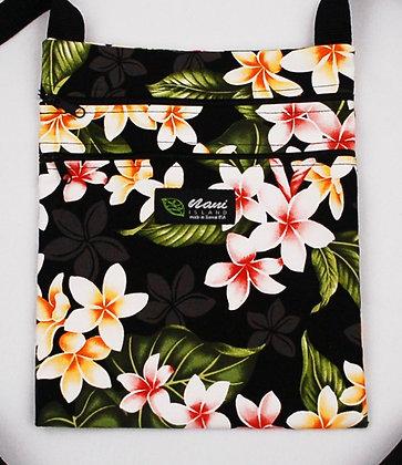 Tropical Passport Bag (XL) New Plumeria Black