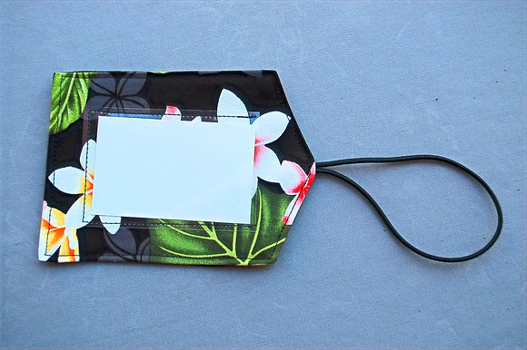 Tropical Luggage Tag New Plumeria Black
