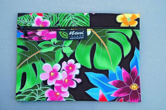 Tropical Cosmetic Pouch Hawaiian Garden Black