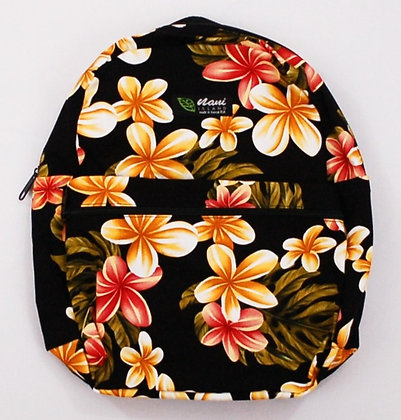 Tropical Backpack (Small) Cute Plumeria Black