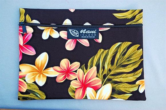 Tropical Cosmetic Pouch Cute Plumeria Black