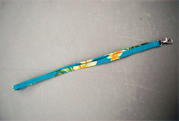 Tropical Lanyard Cute Plumeria Teal