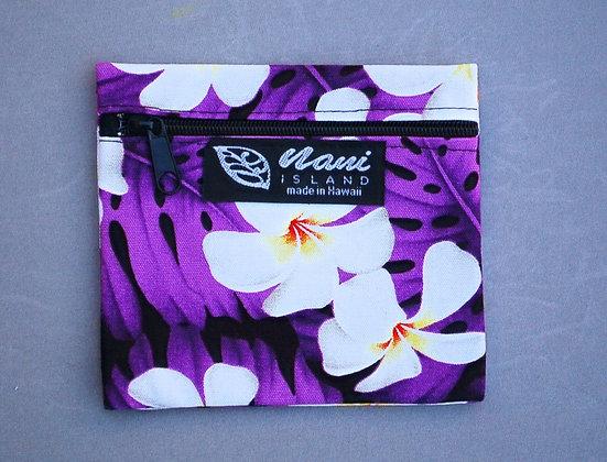 Tropical Coin Purse Modern Plumeria Purple