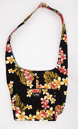 Tropical Reversible Sling Bag Cute Plumeria Black