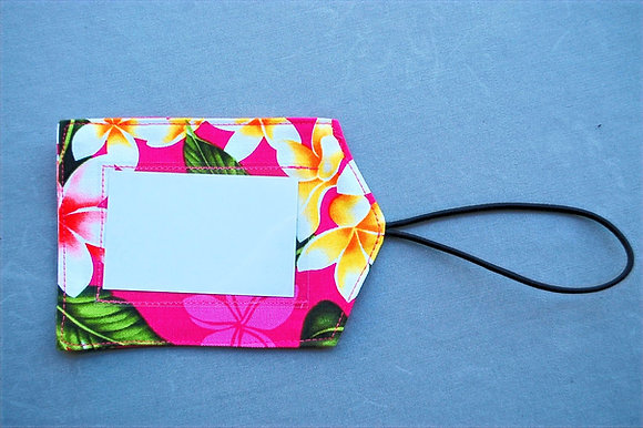 Tropical Luggage Tag New Plumeria Pink
