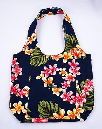Tropical Reversible Hobo Bag Cute Plumeria Navy