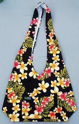 Tropical Crossbody Sling Bag Cute Plumeria Black