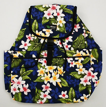 Tropical Backpack (Large) New Plumeria Navy