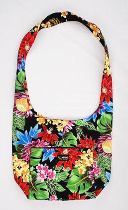 Tropical Reversible Sling Bag Hawaiian Garden Black