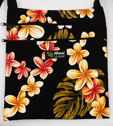 Tropical Passport Bag (XXL) Cute Plumeria Black