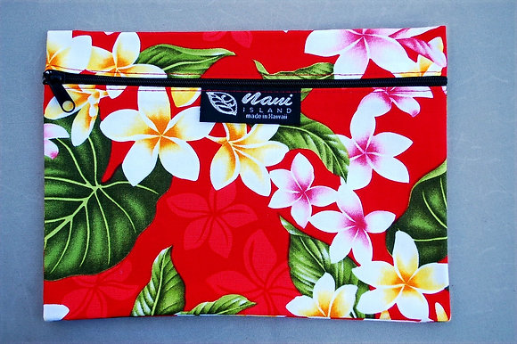 Tropical Cosmetic Pouch New Plumeria Red
