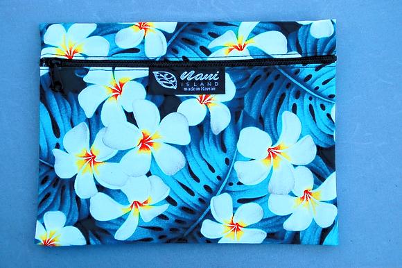 Tropical Cosmetic Pouch Modern Plumeria Teal