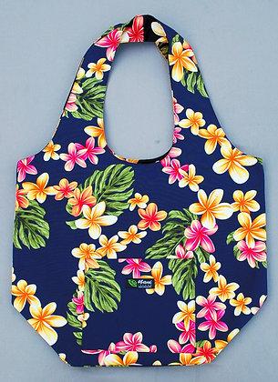 Tropical Reversible Shopping Tote Bag Cute Plumeria Navy
