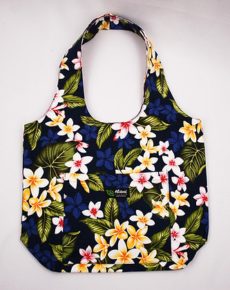 Tropical Reversible Hobo Bag New Plumeria Navy